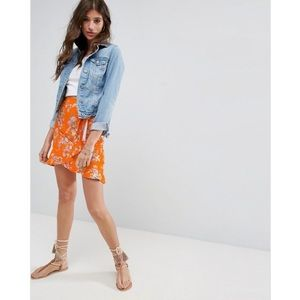 ASOS   Orange Floral Wrap Mini Skirt   Size 14